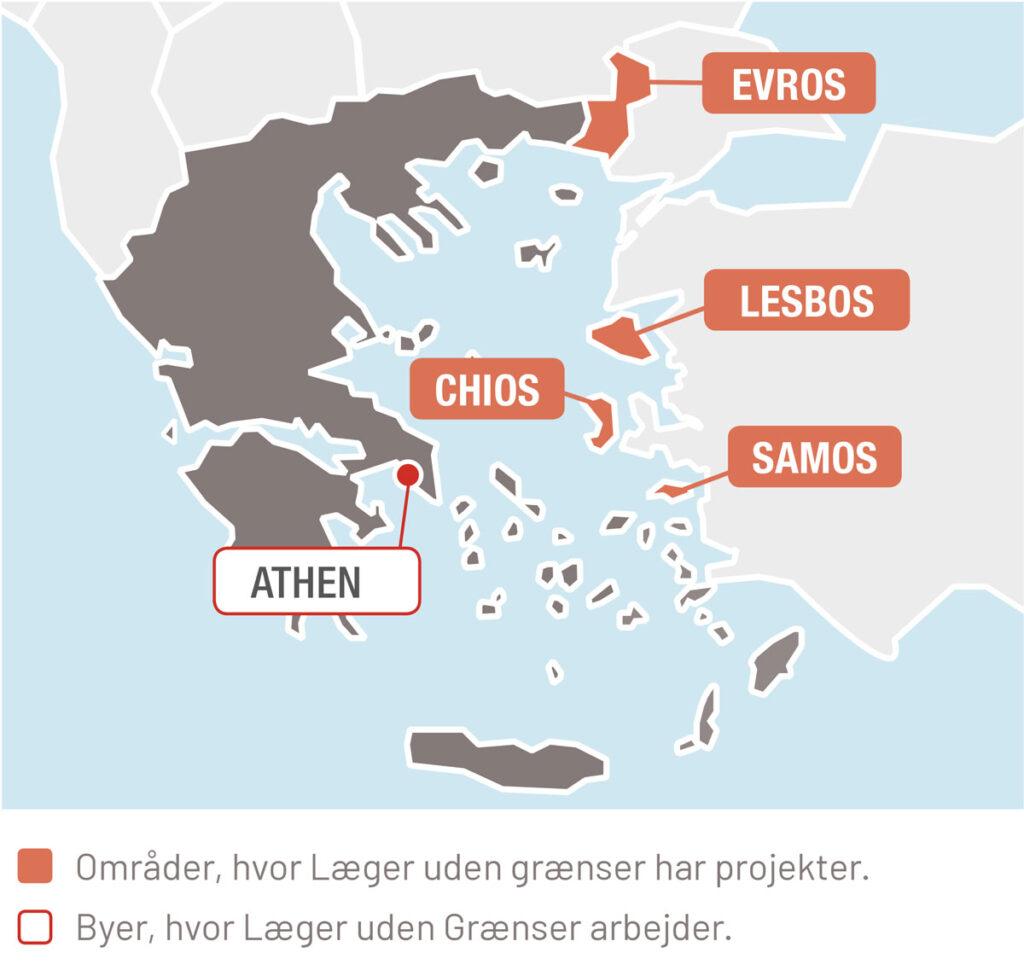 Områder, hvor Læger uden grænser har projekter og byer, hvor Læger uden Grænser arbejder.
